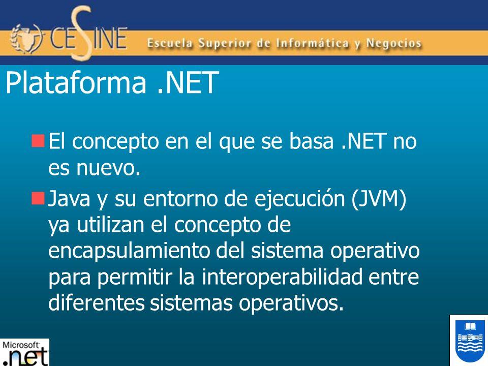 Plataforma .NET El concepto en el que se basa .NET no es nuevo.