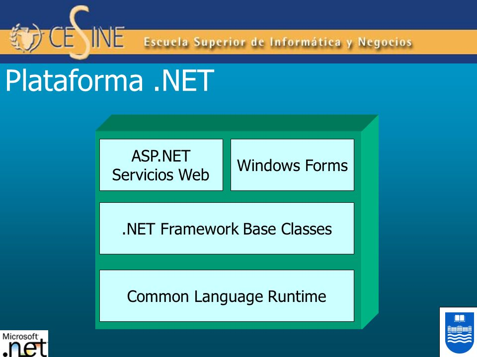 Plataforma .NET ASP.NET Windows Forms Servicios Web