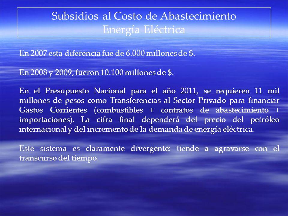Subsidios al Costo de Abastecimiento
