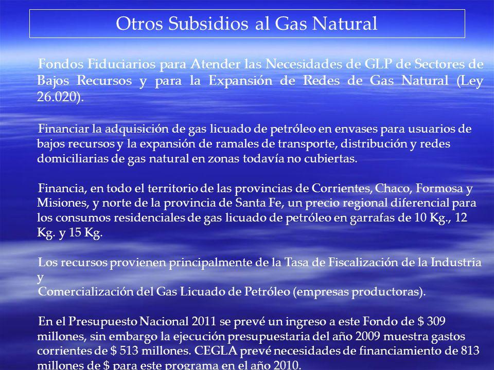 Otros Subsidios al Gas Natural