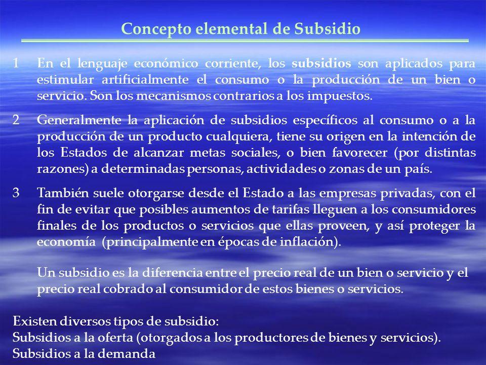 Concepto elemental de Subsidio
