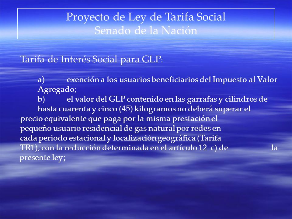 Proyecto de Ley de Tarifa Social