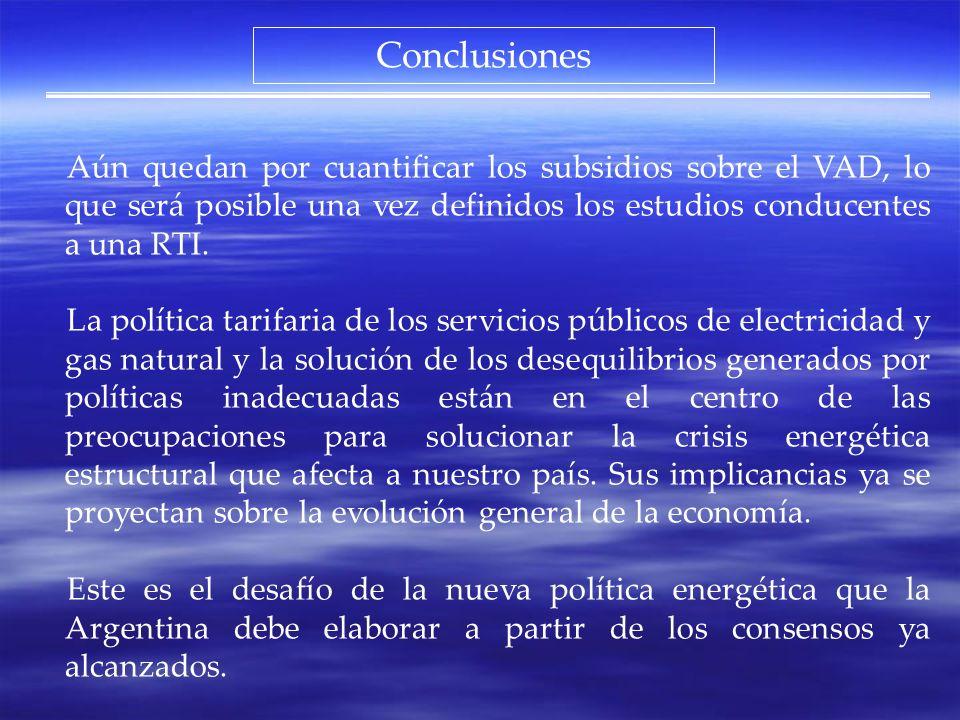 Conclusiones Aún quedan por cuantificar los subsidios sobre el VAD, lo que será posible una vez definidos los estudios conducentes a una RTI.