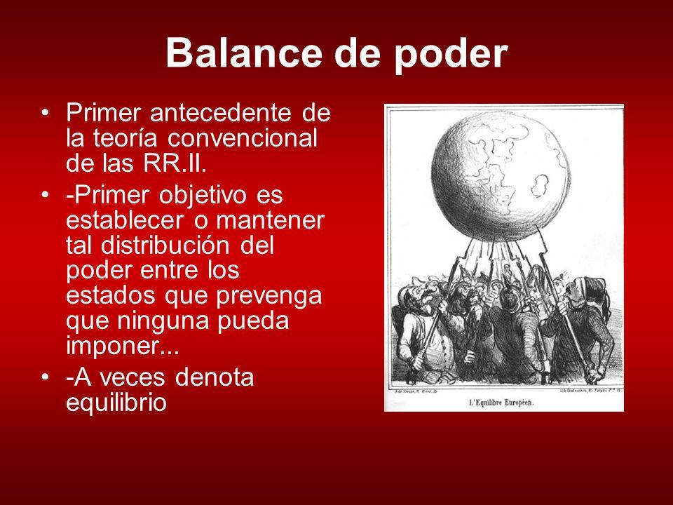 Balance de poder Primer antecedente de la teoría convencional de las RR.II.