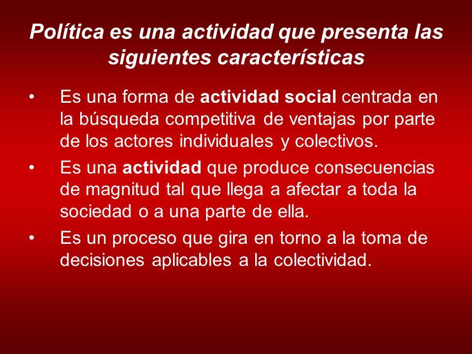 Política es una actividad que presenta las siguientes características