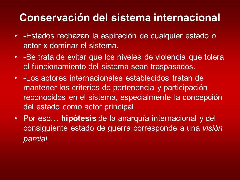 Conservación del sistema internacional