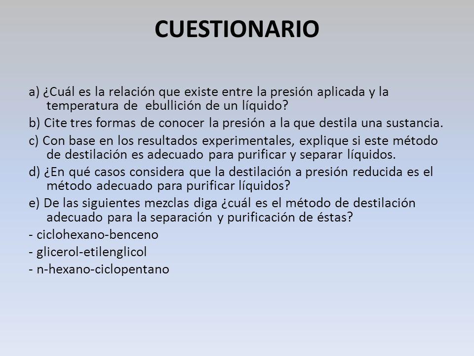 CUESTIONARIO a) ¿Cuál es la relación que existe entre la presión aplicada y la temperatura de ebullición de un líquido