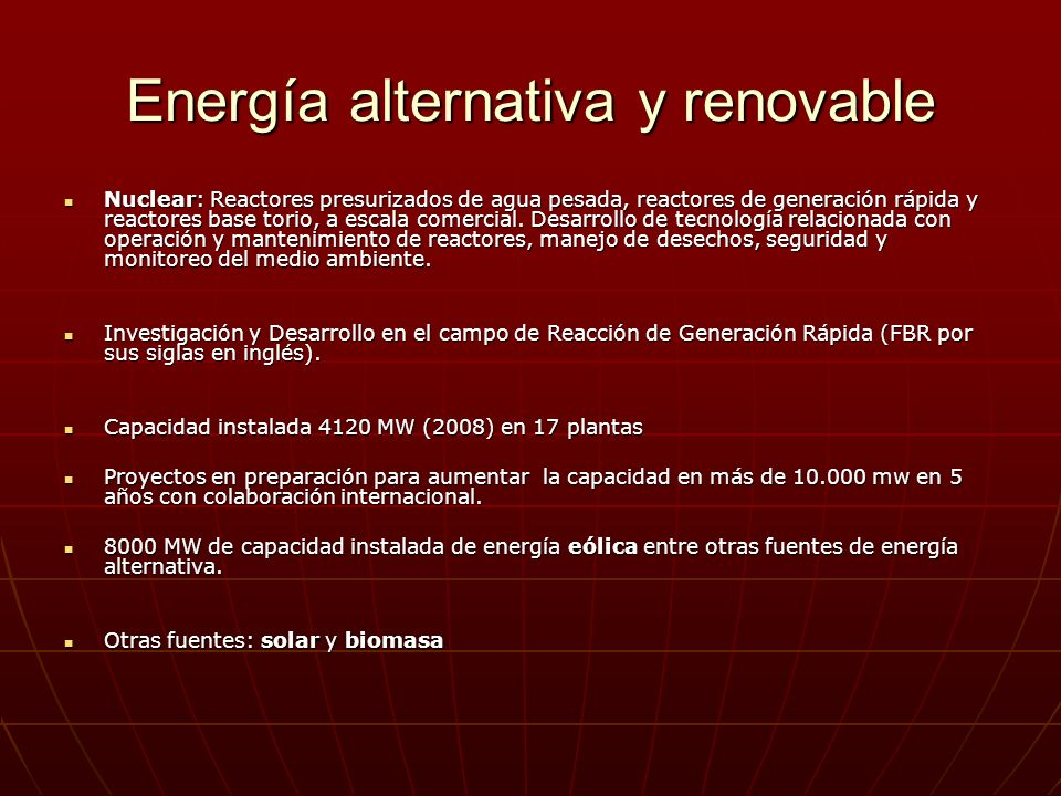 Energía alternativa y renovable