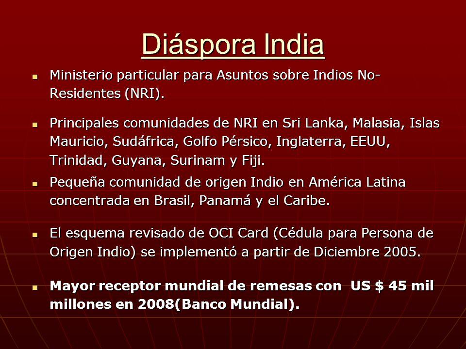 Diáspora India Ministerio particular para Asuntos sobre Indios No-Residentes (NRI).