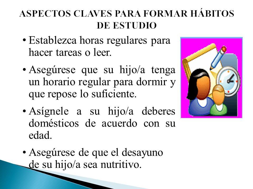 ASPECTOS CLAVES PARA FORMAR HÁBITOS DE ESTUDIO