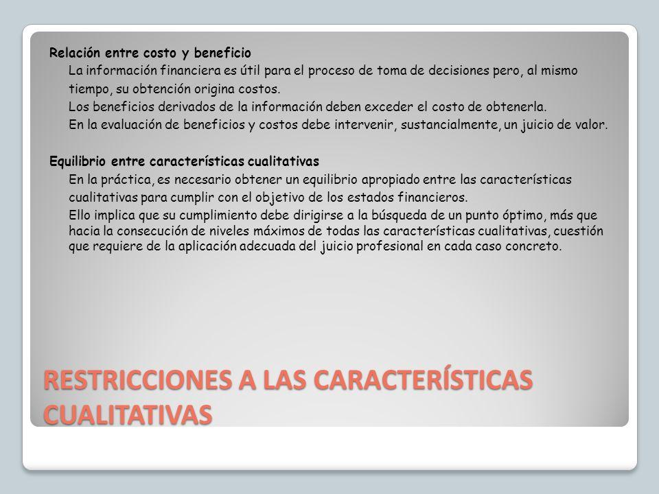 RESTRICCIONES A LAS CARACTERÍSTICAS CUALITATIVAS