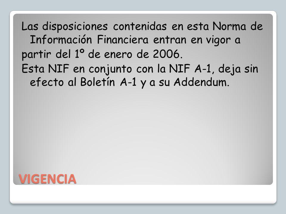 Las disposiciones contenidas en esta Norma de Información Financiera entran en vigor a partir del 1º de enero de 2006. Esta NIF en conjunto con la NIF A-1, deja sin efecto al Boletín A-1 y a su Addendum.