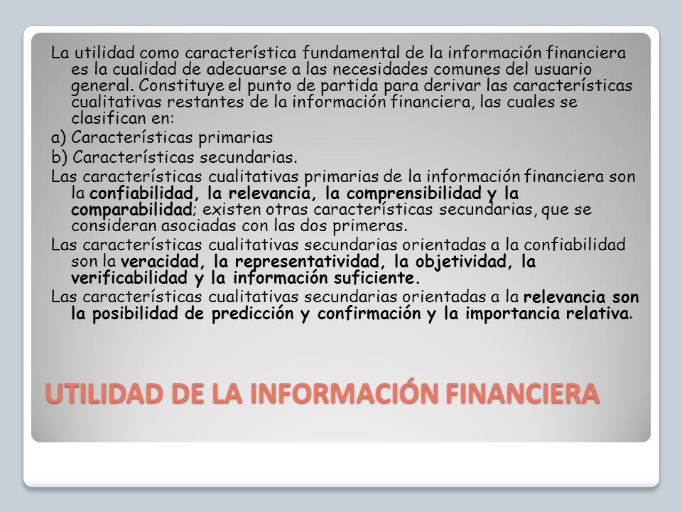 UTILIDAD DE LA INFORMACIÓN FINANCIERA