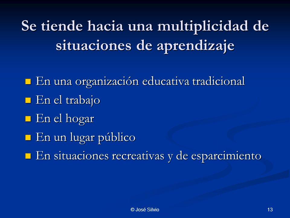 Se tiende hacia una multiplicidad de situaciones de aprendizaje