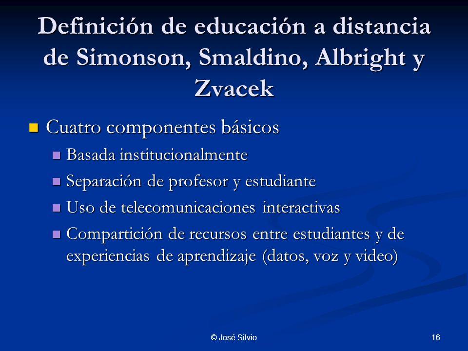 Definición de educación a distancia de Simonson, Smaldino, Albright y Zvacek