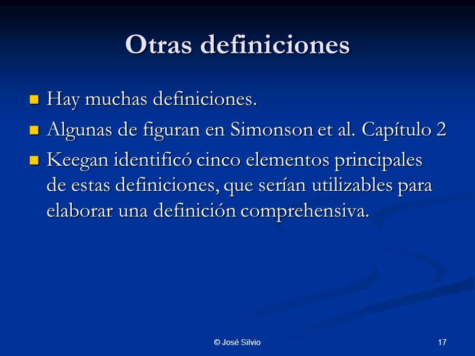 Otras definiciones Hay muchas definiciones.