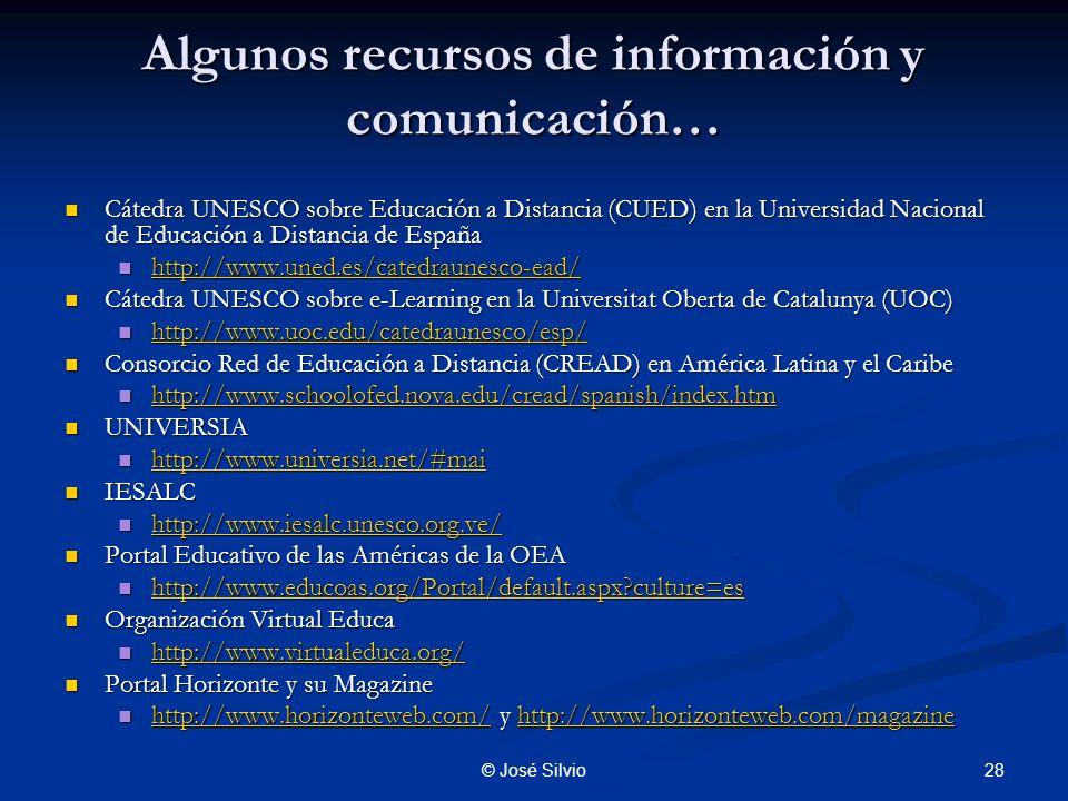 Algunos recursos de información y comunicación…