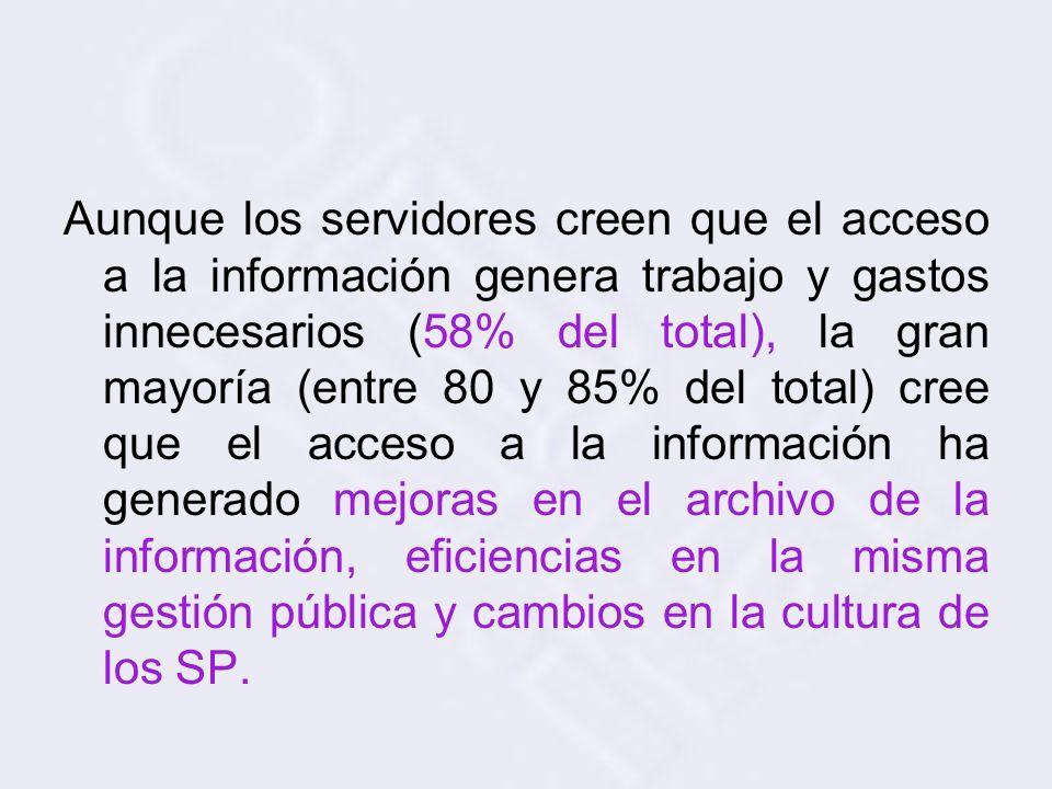 Aunque los servidores creen que el acceso a la información genera trabajo y gastos innecesarios (58% del total), la gran mayoría (entre 80 y 85% del total) cree que el acceso a la información ha generado mejoras en el archivo de la información, eficiencias en la misma gestión pública y cambios en la cultura de los SP.