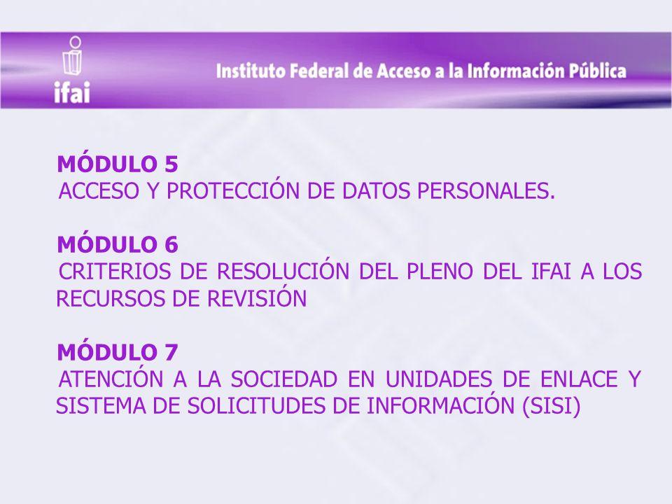 MÓDULO 5 ACCESO Y PROTECCIÓN DE DATOS PERSONALES. MÓDULO 6. CRITERIOS DE RESOLUCIÓN DEL PLENO DEL IFAI A LOS RECURSOS DE REVISIÓN.