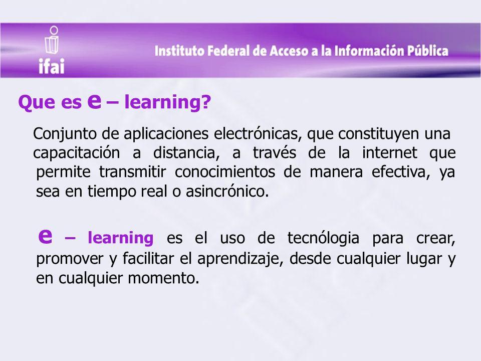 Que es e – learning Conjunto de aplicaciones electrónicas, que constituyen una.