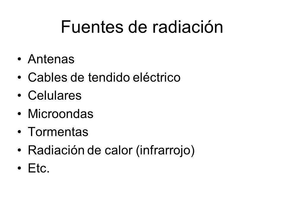 Fuentes de radiación Antenas Cables de tendido eléctrico Celulares