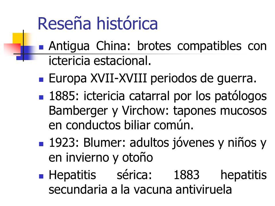 Reseña histórica Antigua China: brotes compatibles con ictericia estacional. Europa XVII-XVIII periodos de guerra.