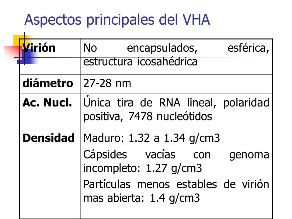 Aspectos principales del VHA