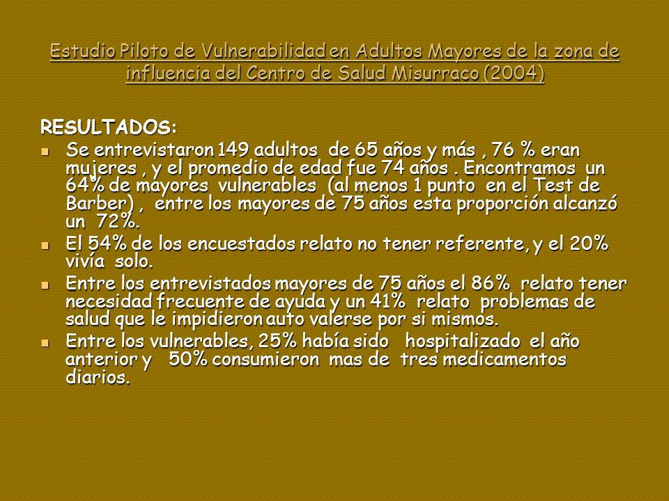 Estudio Piloto de Vulnerabilidad en Adultos Mayores de la zona de influencia del Centro de Salud Misurraco (2004)