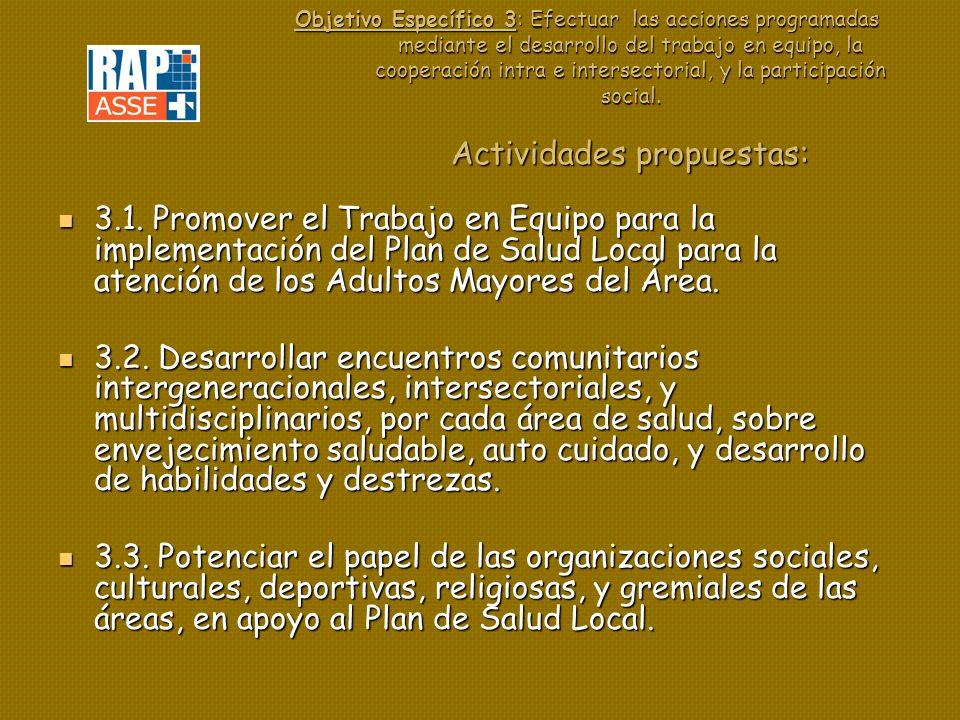 Objetivo Específico 3: Efectuar las acciones programadas mediante el desarrollo del trabajo en equipo, la cooperación intra e intersectorial, y la participación social. Actividades propuestas: