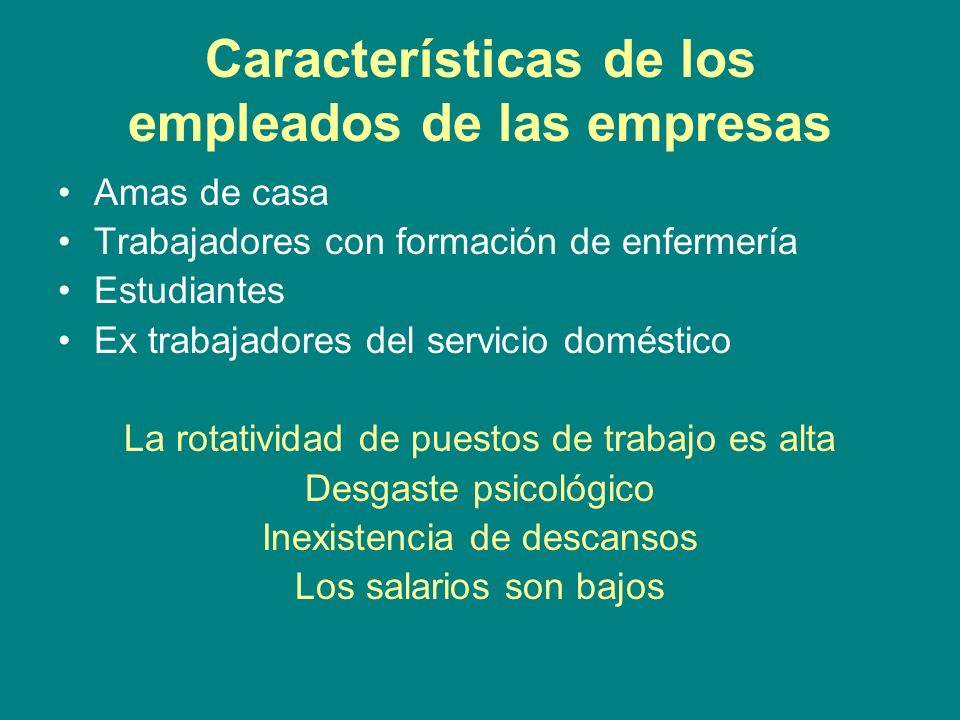 Características de los empleados de las empresas