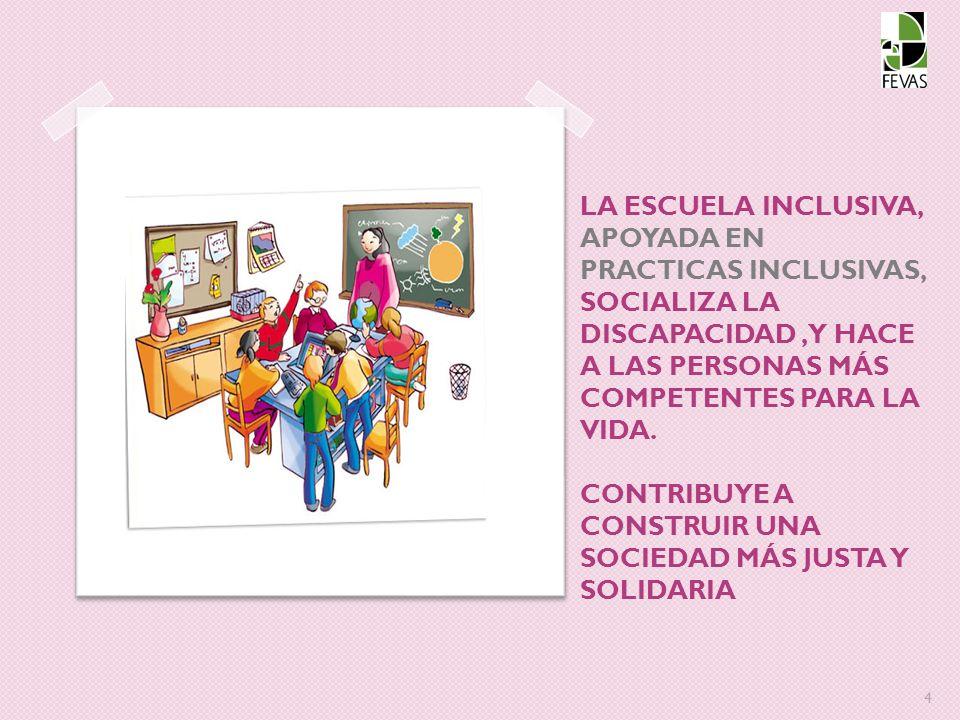 LA ESCUELA INCLUSIVA, APOYADA EN PRACTICAS INCLUSIVAS, SOCIALIZA LA DISCAPACIDAD , Y HACE A LAS PERSONAS MÁS COMPETENTES PARA LA VIDA.