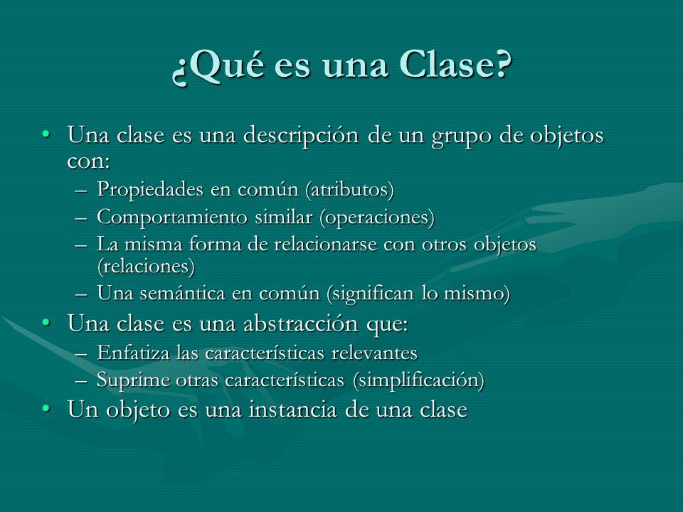 ¿Qué es una Clase Una clase es una descripción de un grupo de objetos con: Propiedades en común (atributos)