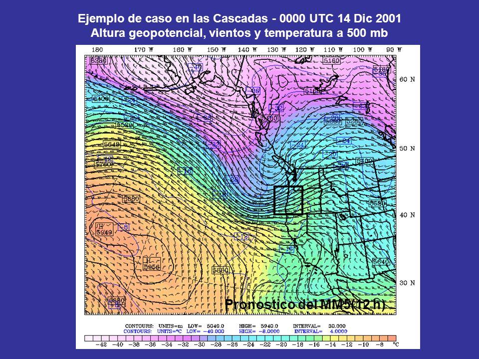 Ejemplo de caso en las Cascadas - 0000 UTC 14 Dic 2001