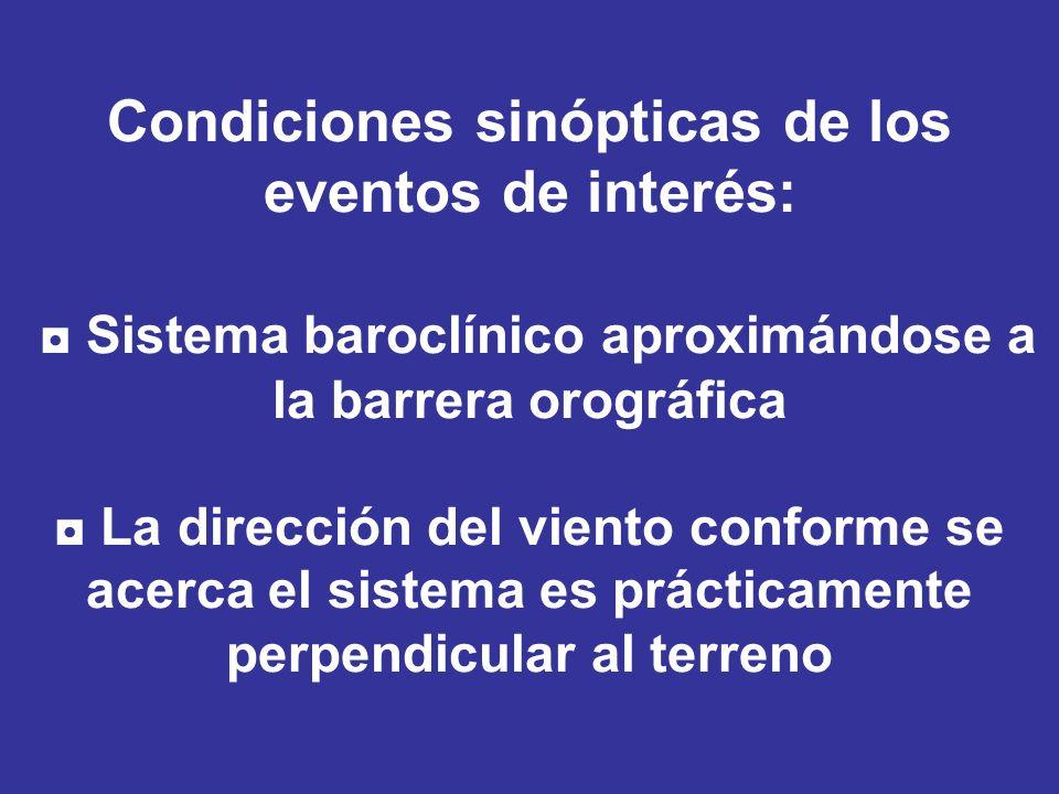 Condiciones sinópticas de los eventos de interés: ◘ Sistema baroclínico aproximándose a la barrera orográfica ◘ La dirección del viento conforme se acerca el sistema es prácticamente perpendicular al terreno