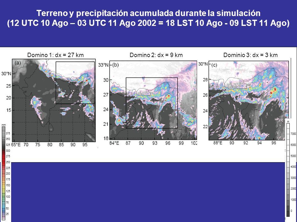 Terreno y precipitación acumulada durante la simulación