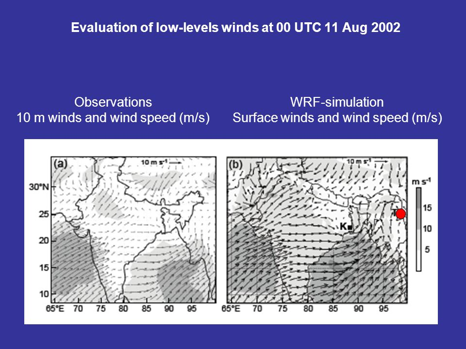 Evaluation of low-levels winds at 00 UTC 11 Aug 2002