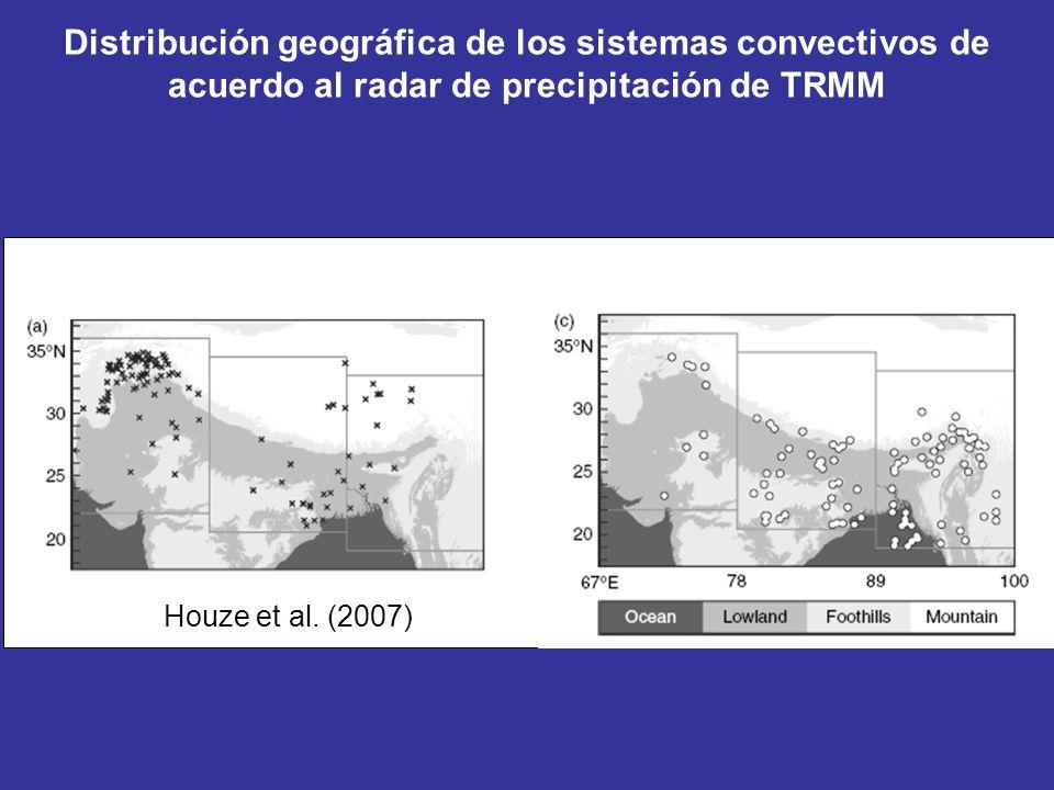 Distribución geográfica de los sistemas convectivos de acuerdo al radar de precipitación de TRMM