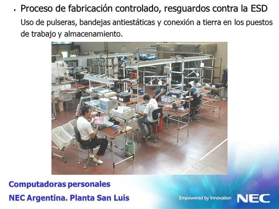 Proceso de fabricación controlado, resguardos contra la ESD