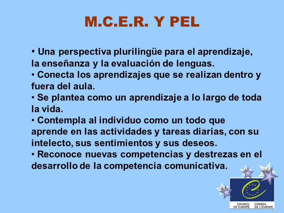 M.C.E.R. Y PEL Una perspectiva plurilingüe para el aprendizaje, la enseñanza y la evaluación de lenguas.