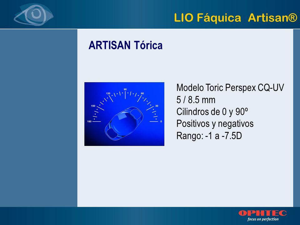 LIO Fáquica Artisan® ARTISAN Tórica Modelo Toric Perspex CQ-UV