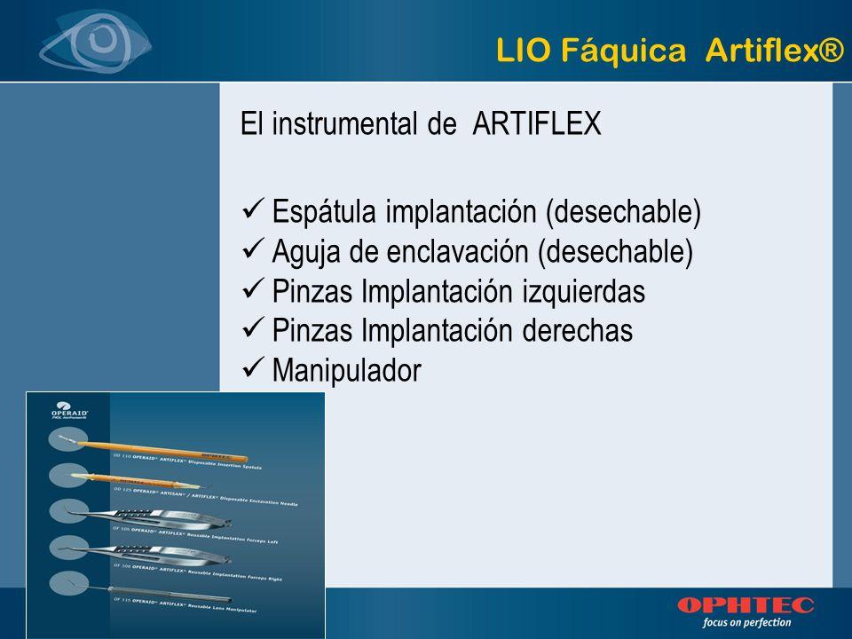 LIO Fáquica Artiflex® El instrumental de ARTIFLEX. Espátula implantación (desechable) Aguja de enclavación (desechable)