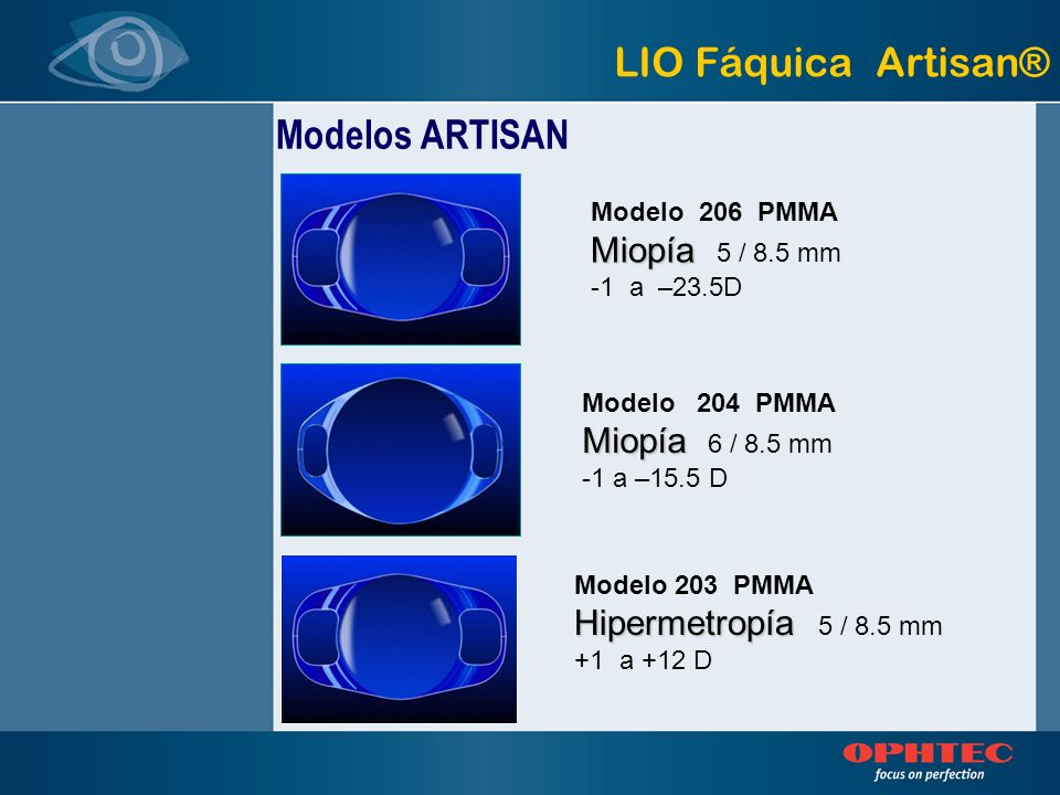 LIO Fáquica Artisan® Modelos ARTISAN Miopía 5 / 8.5 mm