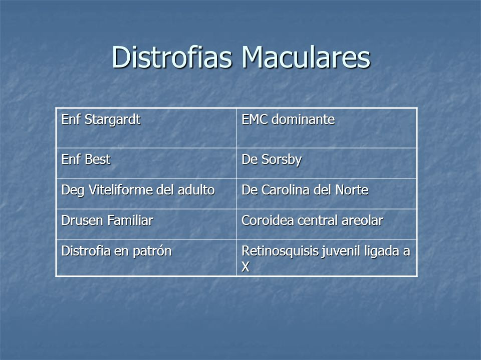 Distrofias Maculares Enf Stargardt EMC dominante Enf Best De Sorsby