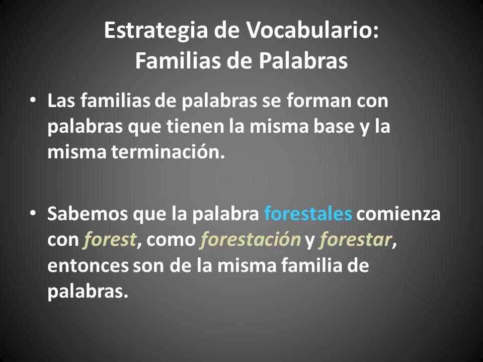 Estrategia de Vocabulario: Familias de Palabras