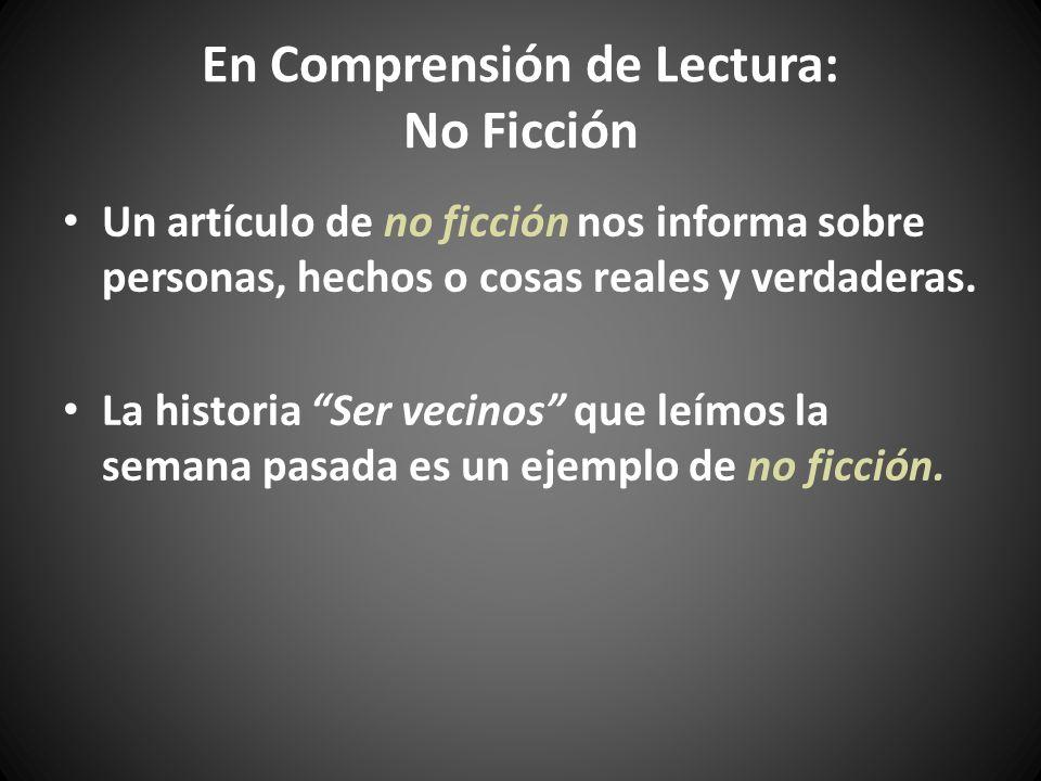 En Comprensión de Lectura: No Ficción
