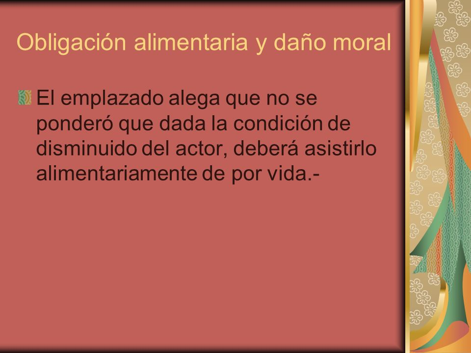Obligación alimentaria y daño moral