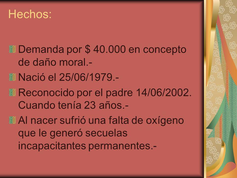 Hechos: Demanda por $ 40.000 en concepto de daño moral.-