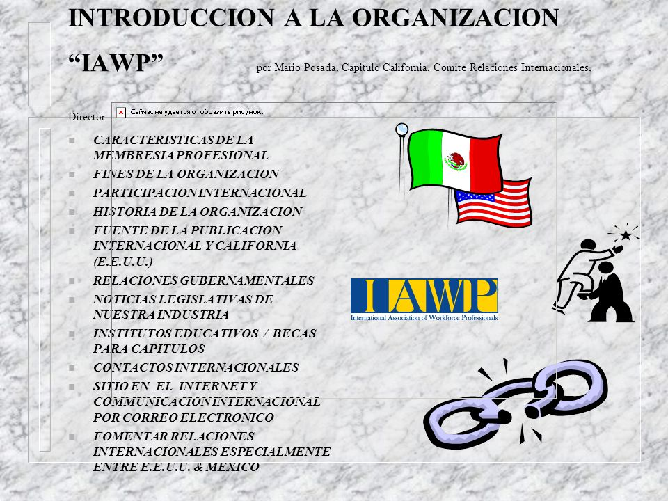INTRODUCCION A LA ORGANIZACION IAWP por Mario Posada, Capitulo California, Comite Relaciones Internacionales, Director