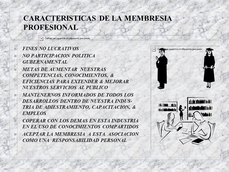 CARACTERISTICAS DE LA MEMBRESIA PROFESIONAL