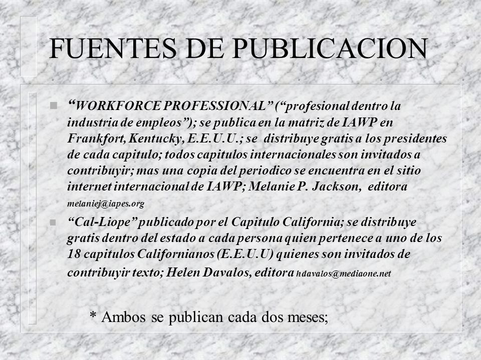 FUENTES DE PUBLICACION